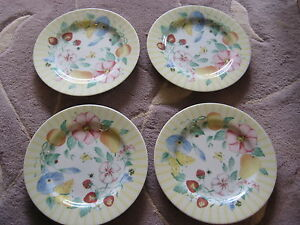 Set-Of-4-Atmosphere-Pfaltzgraff-Grandma-039-s-Kitchen-Yellow-Floral-Salad-Plates