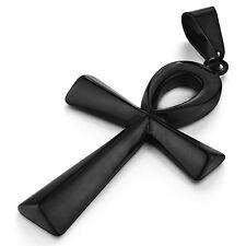 MENDINO Big Men's Stainless Steel Pendant Necklace Egyptian Ankh Cross Black