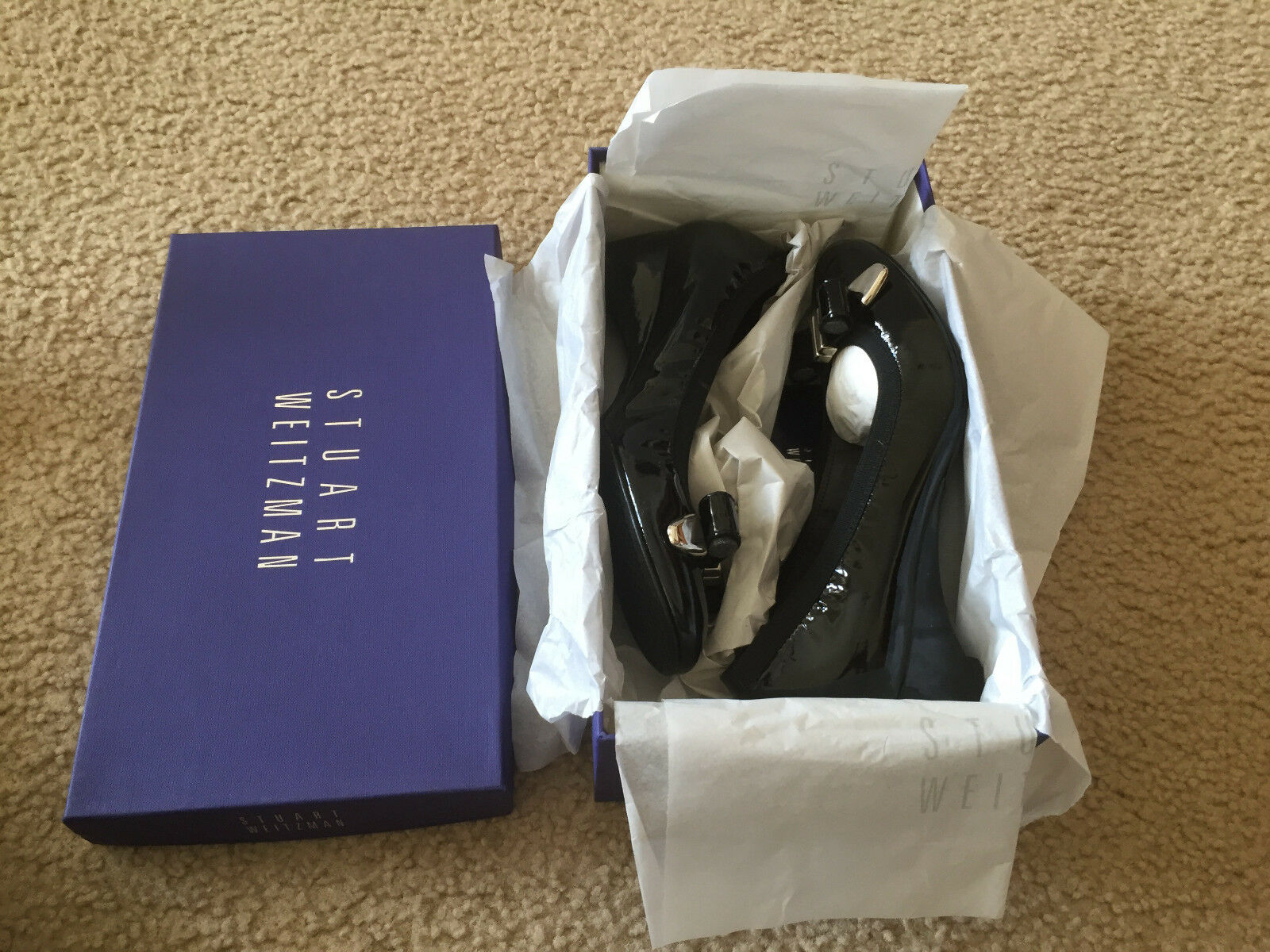 NIB Stuart 8 Weitzman Bowends patent leather 7.5 8 Stuart elasticized collar&wrapped heel e0c049