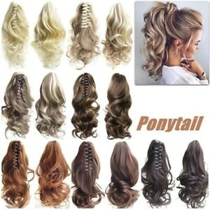 Tool-Hair-Extensions-Hairpiece-Curly-Wavy-Clip-On-Ponytail-Jaw-Horse-Tail