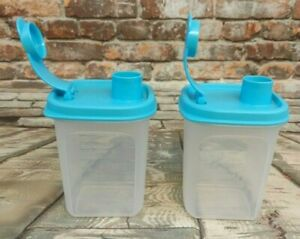 Tupperware-New-Set-of-2-Mini-Slim-Line-1-1-4-Cup-Modular-Pitchers-Light-Blue-Lid