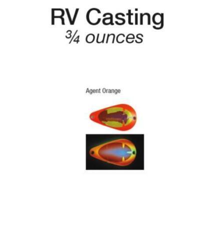 Moonshine Lures Glow Casting Spoon 3//4 oz véhicules récréatifs Couleurs