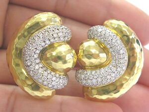NATURAL-18Kt-Henry-Dunay-Hammered-Diamond-Yellow-Gold-Earrings-4-50Ct