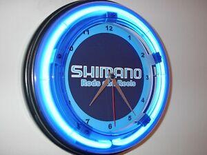 Shimano-Fishing-Reel-Pole-Man-Cave-Blue-Neon-Advertising-Wall-Clock-Sign