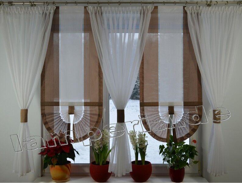 Fenster 180 cm Gardine Komplett Dekoration Wohnzimmer Weiß Beige Braun Braun Braun  00526 | Elegant  8ad40c