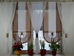 Das Bild Wird Geladen Fenster 180 Cm Gardine Komplett Dekoration Wohnzimmer  Weiss