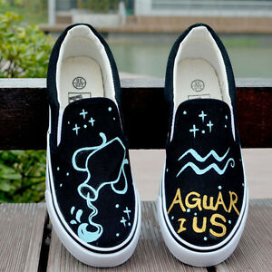 Brand-New-Fashion-Hand-painted-Luminous-Zodiacal-Signs-Comfortable-Canvas-Shoes