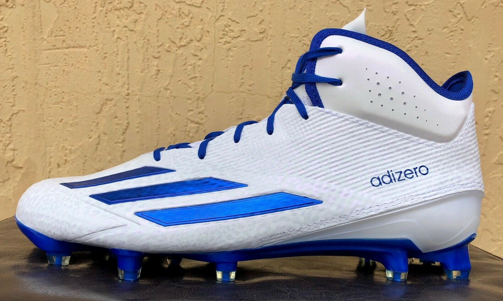 46fbc906f Mens Adidas adizero 5-Star 5.0 Mid Football Cleats Size 10.5 or 12.5 White  bluee