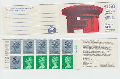 GB STAMP £1.50  FOLDED BOOKLET Cylinder Number1986 Pillar Box Write Now  SG FP1