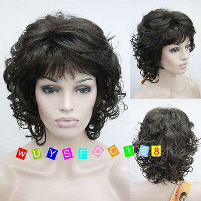 New Lady girl brown/black curly short cosplay full wigs/Free wig cap