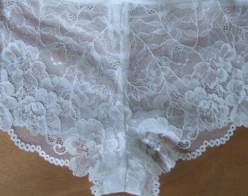 Top Shop Taille 14 Sheer Floral Lace Short Boxers Slips Culottes Slips Blanc