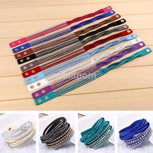 Fashion-Colorful-Leather-Wrap-Wristband-Cuff-Punk-Rhinestone-Bracelet-Bangle-US