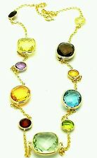 14K Yellow Gold Station Necklace With Checkerboard Cut Gemstones By The Yard 18""