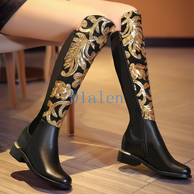 Womens Knee High Boot Floral Stretchy Mid Heel Riding Leather Metal Sequin Shoes