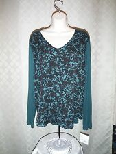 Long Sleeve V-Neck Blouses APT.9 size XL,LG, Purple and Green Pine Black Floral