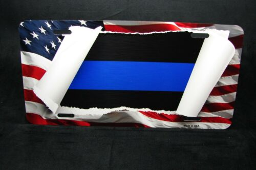 THIN BLUE LINE POLICE METAL NOVELTY CAR LICENSE PLATE TAG AMERICAN FLAG