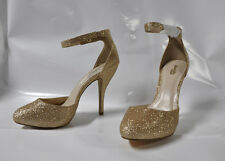 """Charlotte Russe """"Tizzy"""" gold sparkle high heel sandal - Size 11, 5"""" heel - New"""