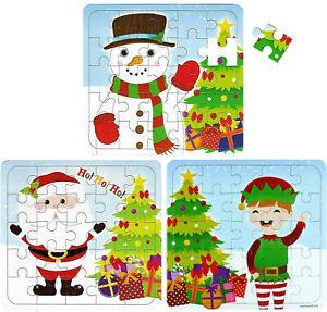 3-x-Puzzle-Regalo-di-Natale-per-Ragazzi-Ragazze-Pupazzo-di-Neve-Babbo-Natale-Elfo-calza-Filler