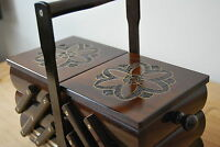 BEAUTIFUL VINTAGE STYLE  WOODEN  MEDIUM 28 CM LONG  SEWING BOX HAND CRAFTED