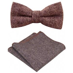 bb7a62283c173 Vintage Brown Tweed Wool Pre-Tied Bow Tie & Pocket Square Set. Great ...