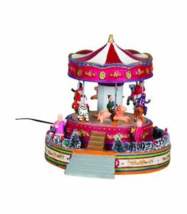 Christmas-Snow-Village-Town-Carousel-Merry-Go-Round-Winter-Scene-Decoration