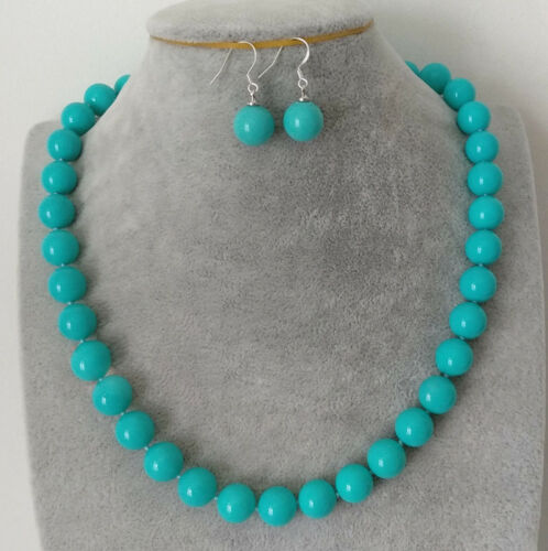 """Naural 12mm South Sea Blue Shell Pearl Gemstone Round Beads Necklace 18/""""+Earring"""