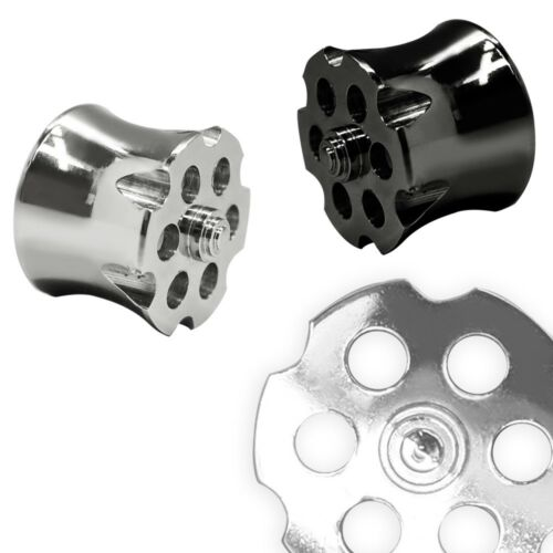 1 Double Flared Tunnel Silver Revolver Drum Stainless Steel 8 10 12 14 0 5/8in