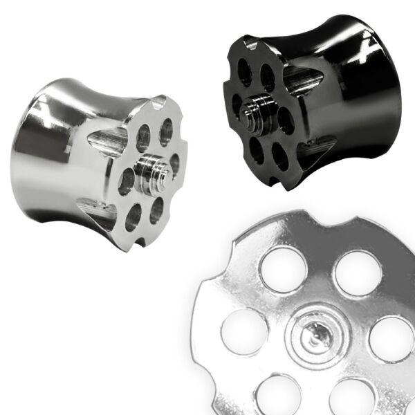 1 Double Flared Tunnel Silber Revolvertrommel Edelstahl 8 10 12 14 16 Mm Plug Gesundheit Effektiv StäRken