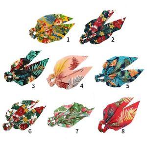 Boho-Print-Floral-Bow-Scrunchie-Hair-Bow-Ties-Ponytail-Scarf-Hair-Rope-Elastic
