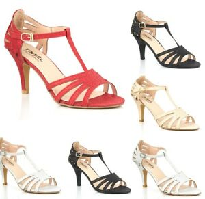 New-Ladies-Medium-Low-Heel-Ankle-Strap-Party-Bridal-Dressy-Sandals-Size-345678