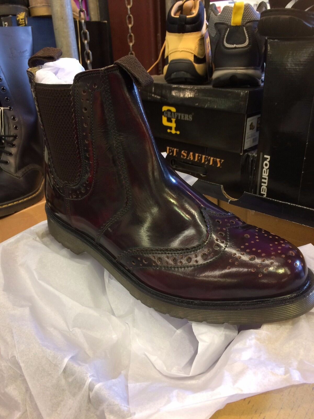 OX BLOOD Mens Work OXBLOOD Leather Chelsea Brogue Dealer Stiefel Air Cushion Sole