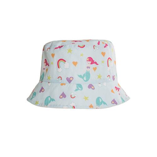 Sun Summer Beach Baby Bucket Hat Kids Girls Mermaid Blue /& White by Hawkins
