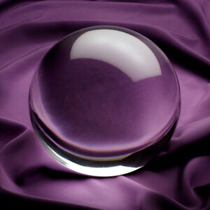 """5 in"""" 130mm Clear Crystal Ball with Angled Crystal Stand in Gift Box"""