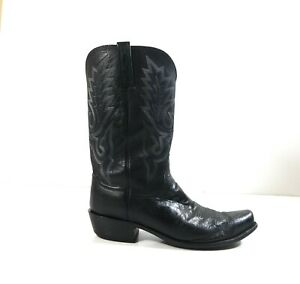 Lucchese-Men-Black-Leather-Smooth-Ostrich-Western-Cowboy-Pull-On-Boots-Sz-12-2E