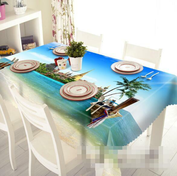 3D Sea Boat 6 Tablecloth Table Cover Cloth Birthday Party Event AJ WALLPAPER AU