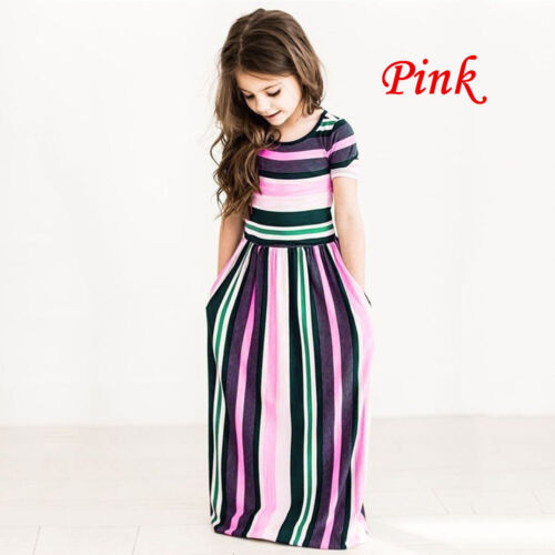 Toddler Baby Girls Striped Long Dress Kids Party Beachwear Dresses Outfits