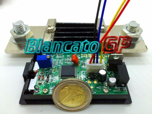 AMPEROMETRO ISOLATO ±500A DC DIGITALE DA PANNELLO LCD LED BLU SHUNT 75mV nautica
