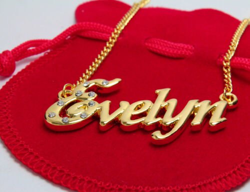 """18K Yellow Gold Plated Name Necklace /""""Evelyn/"""" Christmas Valentines Birthday"""