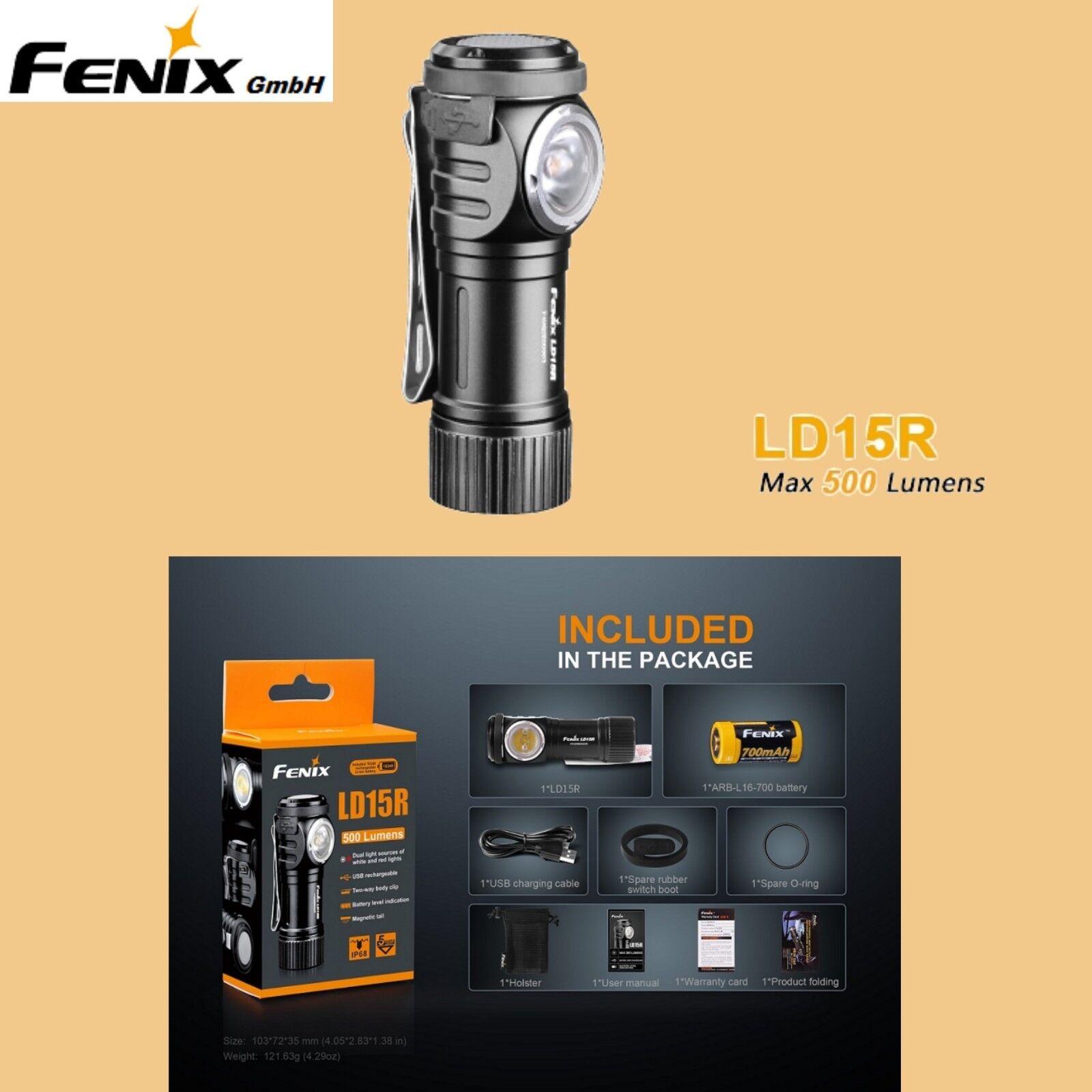 FENIX LD15R Winkellampe Taschenlampe 500 Rotlicht lm weiß + Rotlicht 500 Magnet USB Clip Akku 0dc9b4