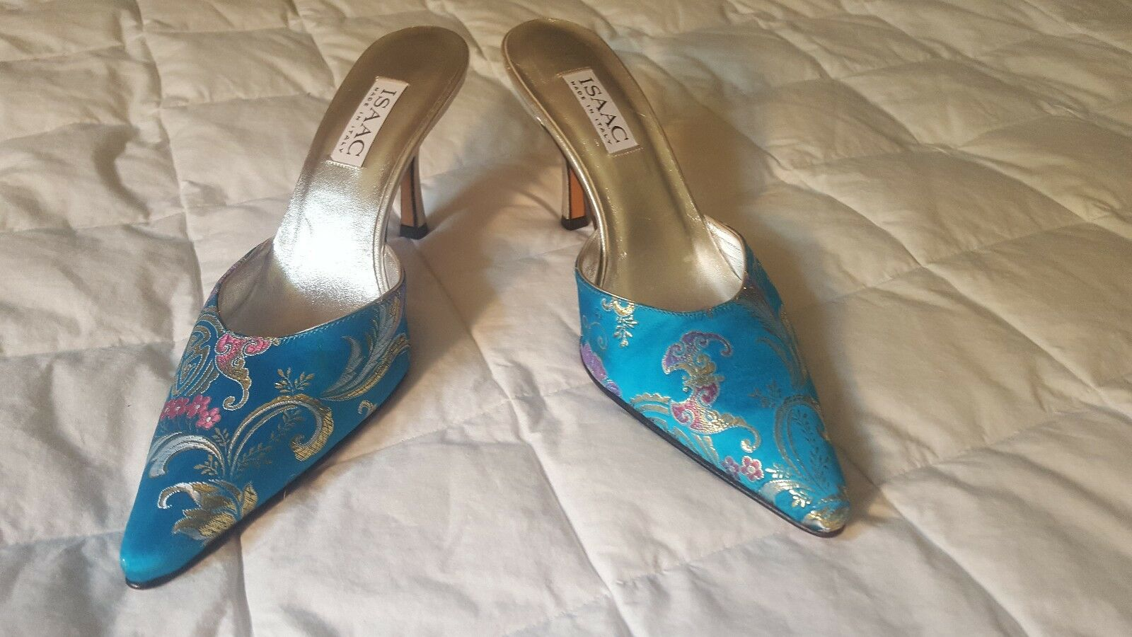 ISAAC MIZRAHI Silk Embellished Leather Sandals Made Slides damen 8B Made Sandals in  14db0e