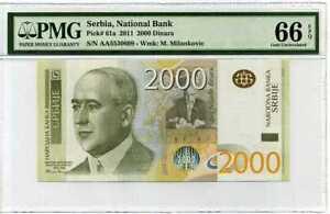 Serbia 2000 Dinara 2011 P 61 Gem UNC PMG 66 EPQ