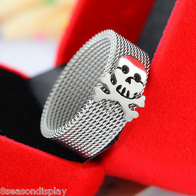 1PC Stainless Steel 8mm Wide Skull Crossbones Mesh Band Ring - Choose Size