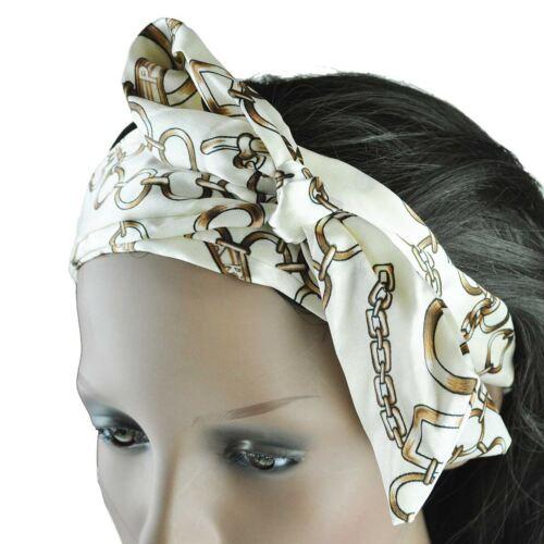 Ladies Satin Chain Print Headwrap print Elasticated Hairband