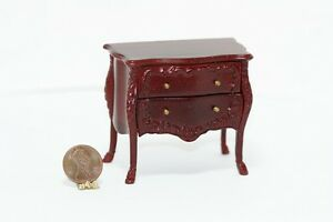 Dollhouse Miniature Ornate Mahogany Side Table or Night Stand