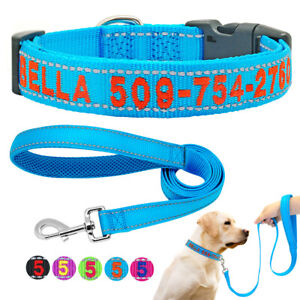 Personalised-Embroidered-Dog-Collar-amp-Lead-Reflective-Custom-Pet-Cat-ID-Name-Phone
