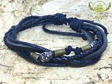 Armband Lederarmband Leather Bracelet Surfer Retro Totenkopf Skull VD A505