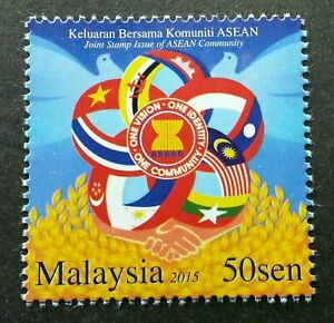SJ-Malaysia-Joint-Issue-Of-ASEAN-Community-2015-Bird-Flag-stamp-MNH