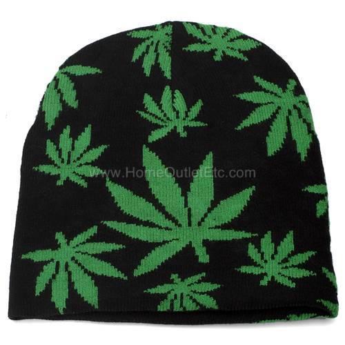 Marijuana Leaf Knit Beanie Skull Cap Winter Ski Snow Toque Tuque Pot Weed Hemp