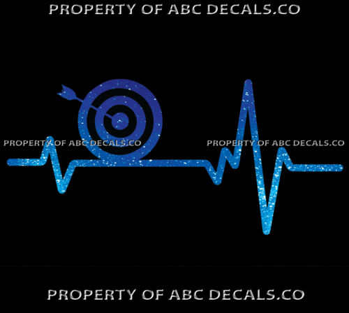 VRS Heart Beat Line ARCHERY Bow Quiver Arrow on Target Bullseye CAR METAL DECAL