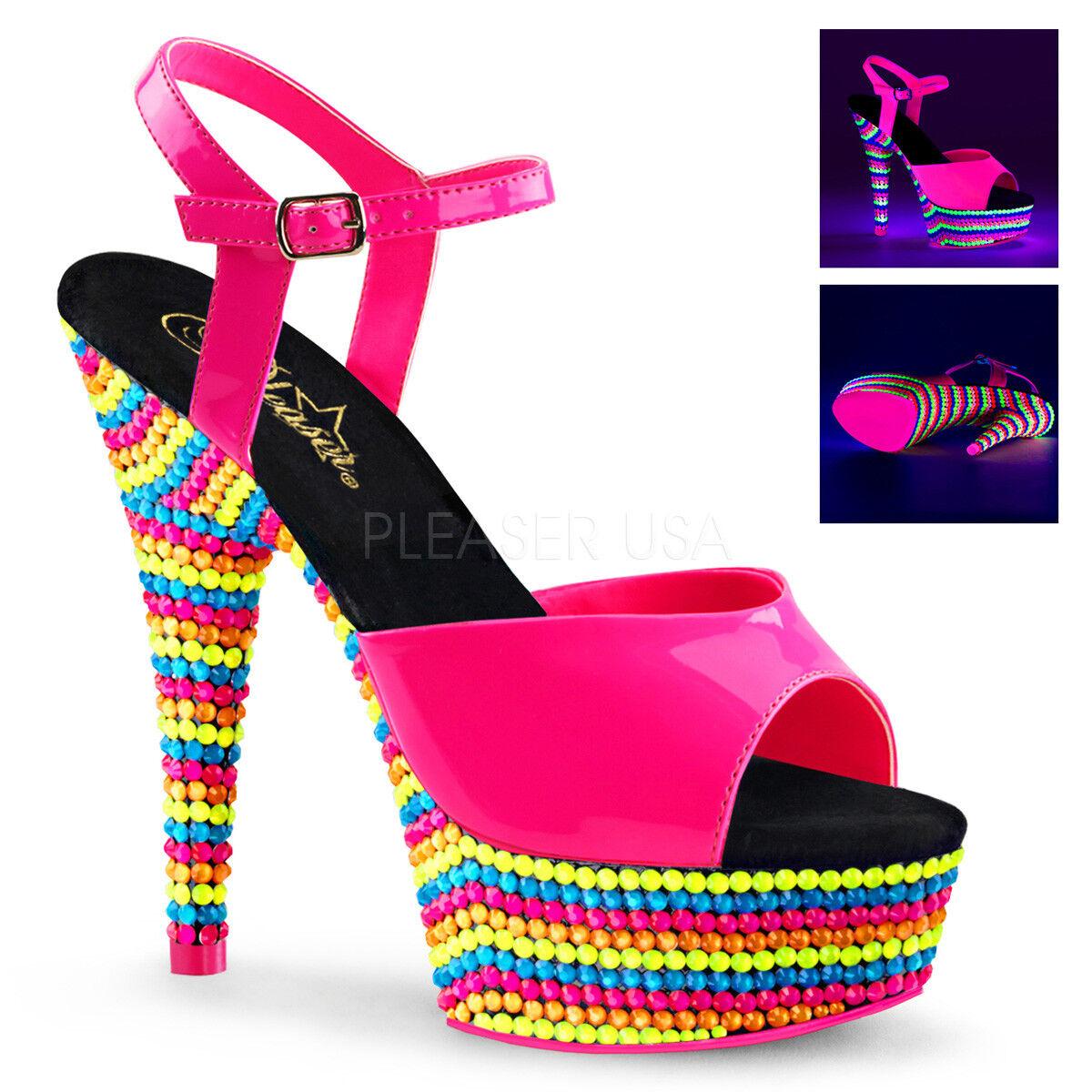 Pleaser DELIGHT-609RBS Neon UV rose Platform Ankle Strap Sandal Multi Couleur Bead